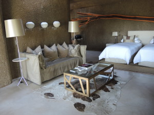 Earth lodge bedroom...cool, contemporary and comfortable.