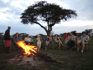 The end of the walk...and sundowners at a fire overlooking the plains.